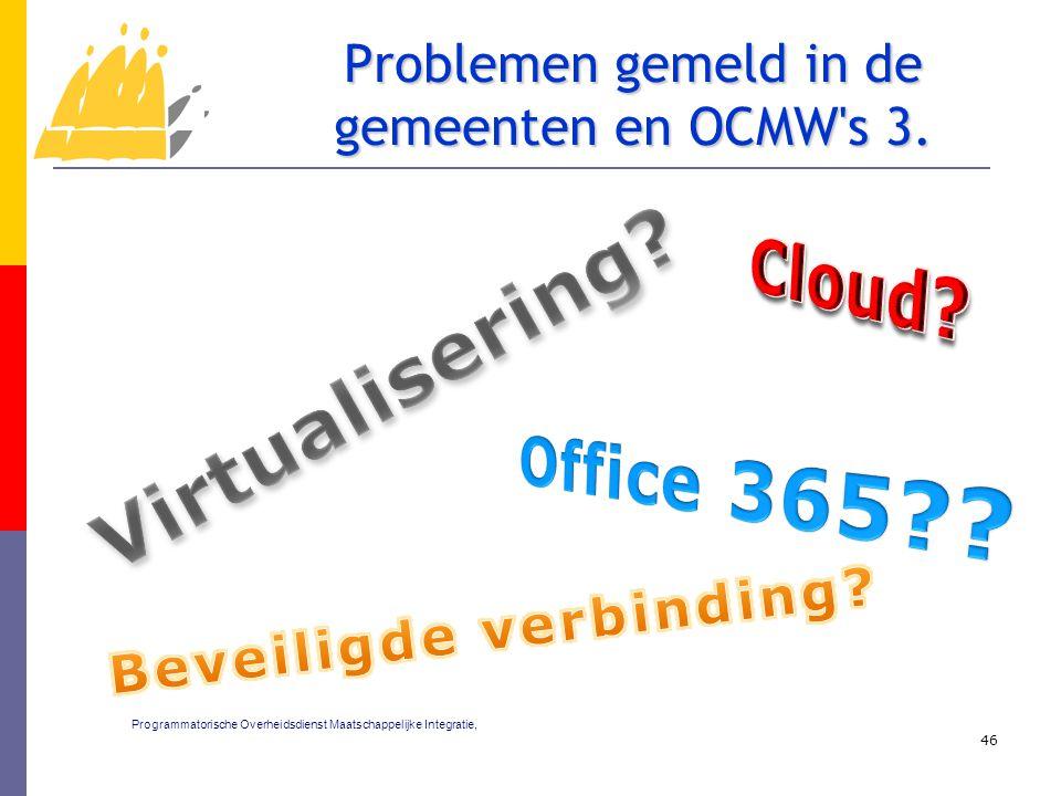 46 Problemen gemeld in de gemeenten en OCMW's 3. Programmatorische Overheidsdienst Maatschappelijke Integratie,
