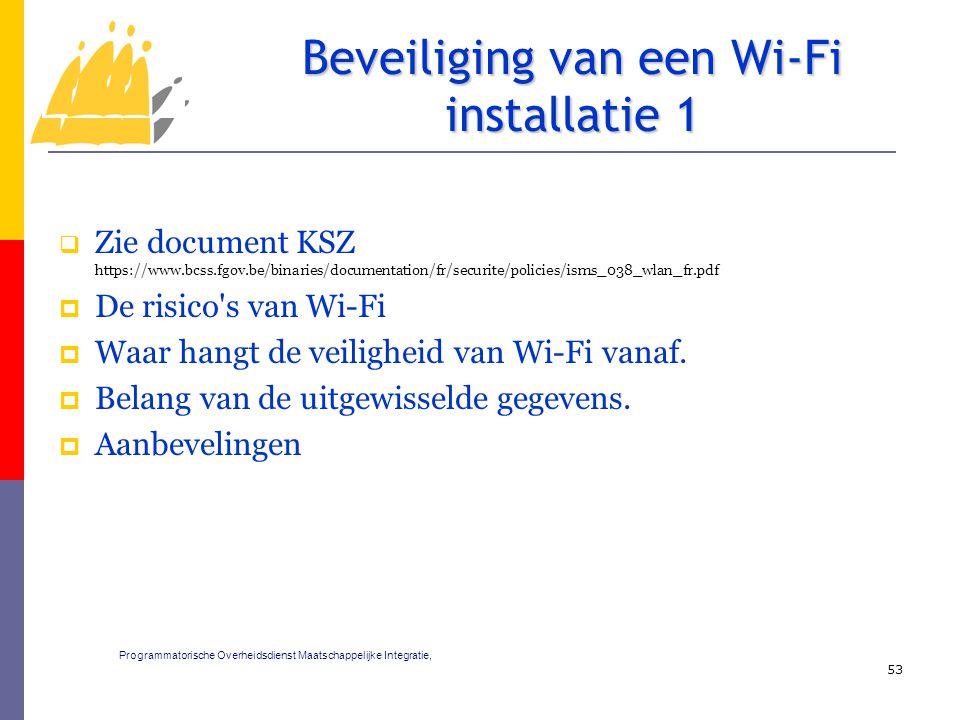  Zie document KSZ https://www.bcss.fgov.be/binaries/documentation/fr/securite/policies/isms_038_wlan_fr.pdf  De risico s van Wi-Fi  Waar hangt de veiligheid van Wi-Fi vanaf.