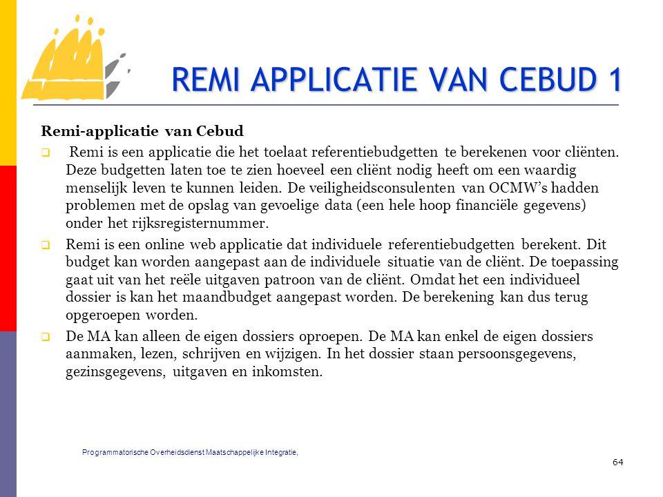 Remi-applicatie van Cebud  Remi is een applicatie die het toelaat referentiebudgetten te berekenen voor cliënten. Deze budgetten laten toe te zien ho