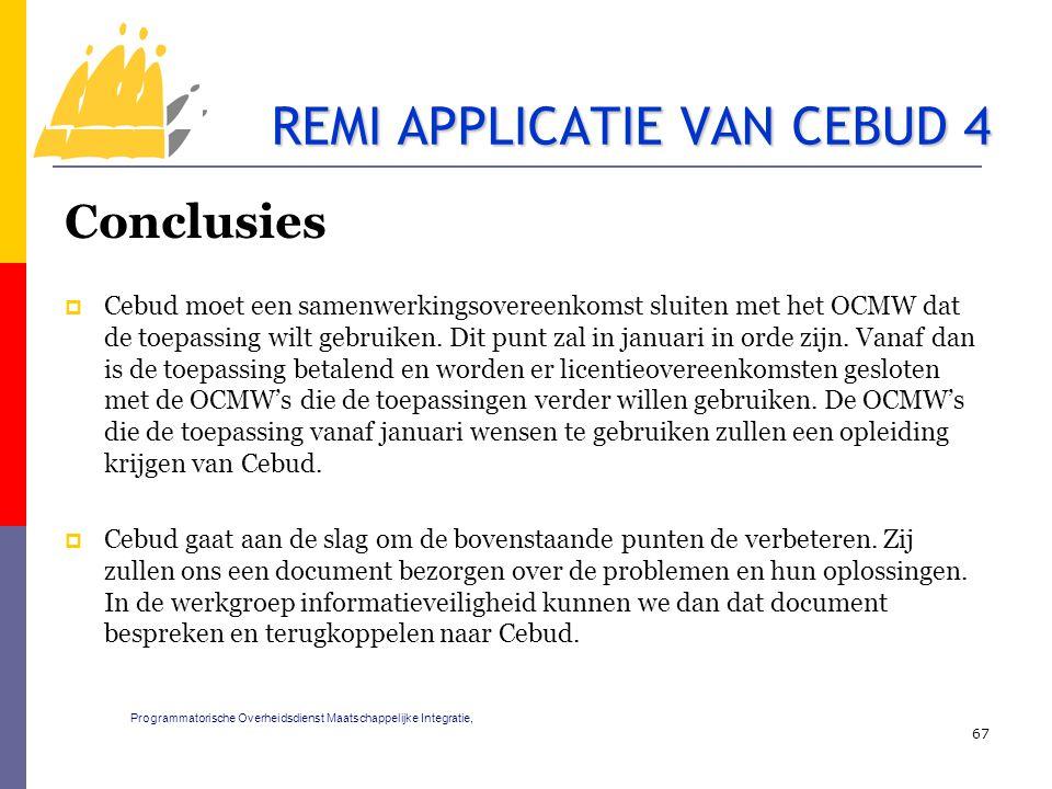 Conclusies  Cebud moet een samenwerkingsovereenkomst sluiten met het OCMW dat de toepassing wilt gebruiken. Dit punt zal in januari in orde zijn. Van
