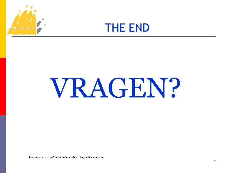 VRAGEN? 68 THE END Programmatorische Overheidsdienst Maatschappelijke Integratie,