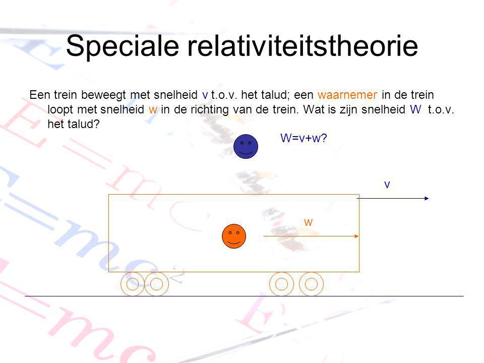 Speciale relativiteitstheorie Een trein beweegt met snelheid v t.o.v. het talud; een waarnemer in de trein loopt met snelheid w in de richting van de