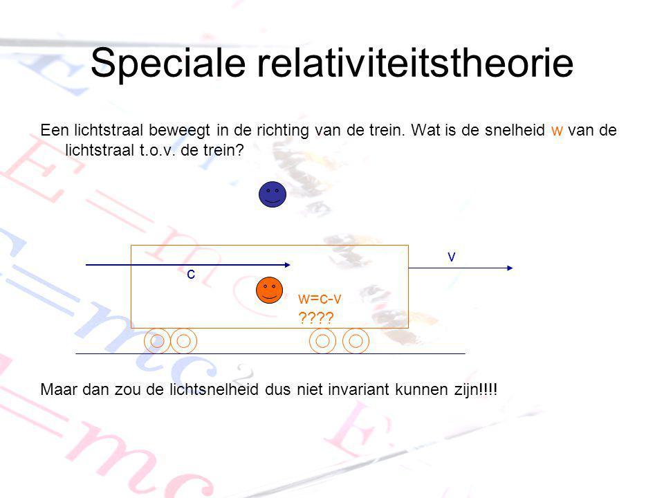 Speciale relativiteitstheorie Een lichtstraal beweegt in de richting van de trein. Wat is de snelheid w van de lichtstraal t.o.v. de trein? Maar dan z