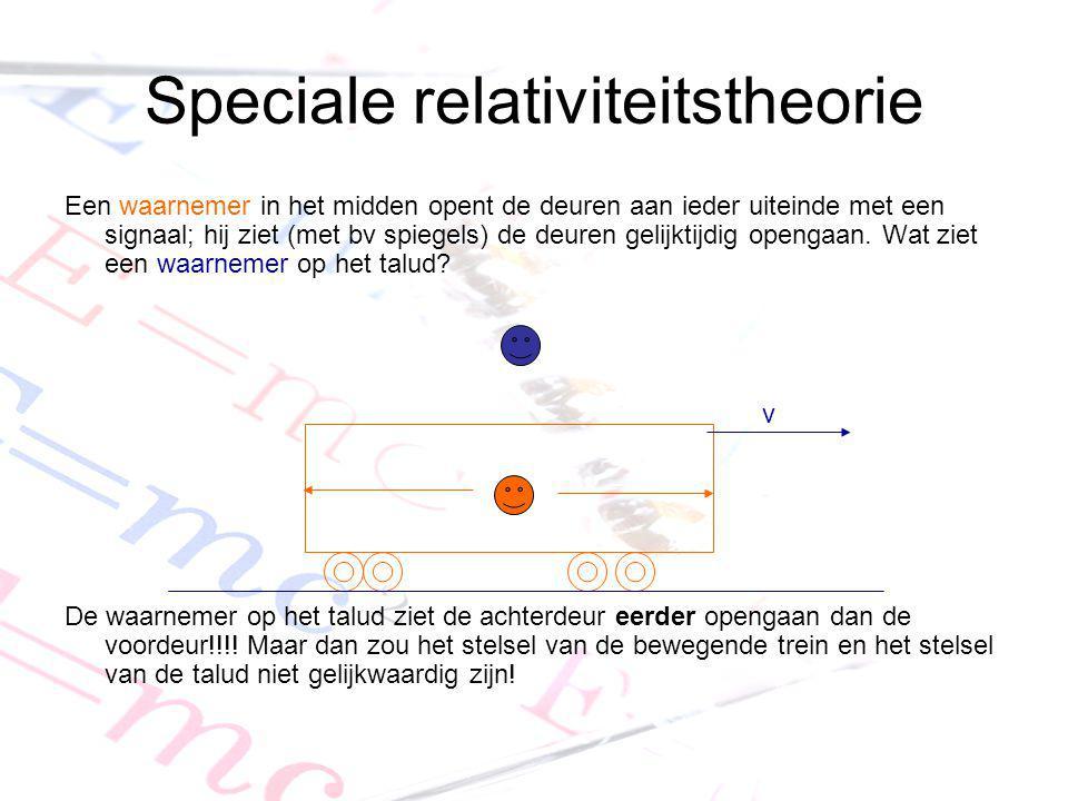 Speciale relativiteitstheorie Een waarnemer in het midden opent de deuren aan ieder uiteinde met een signaal; hij ziet (met bv spiegels) de deuren gel