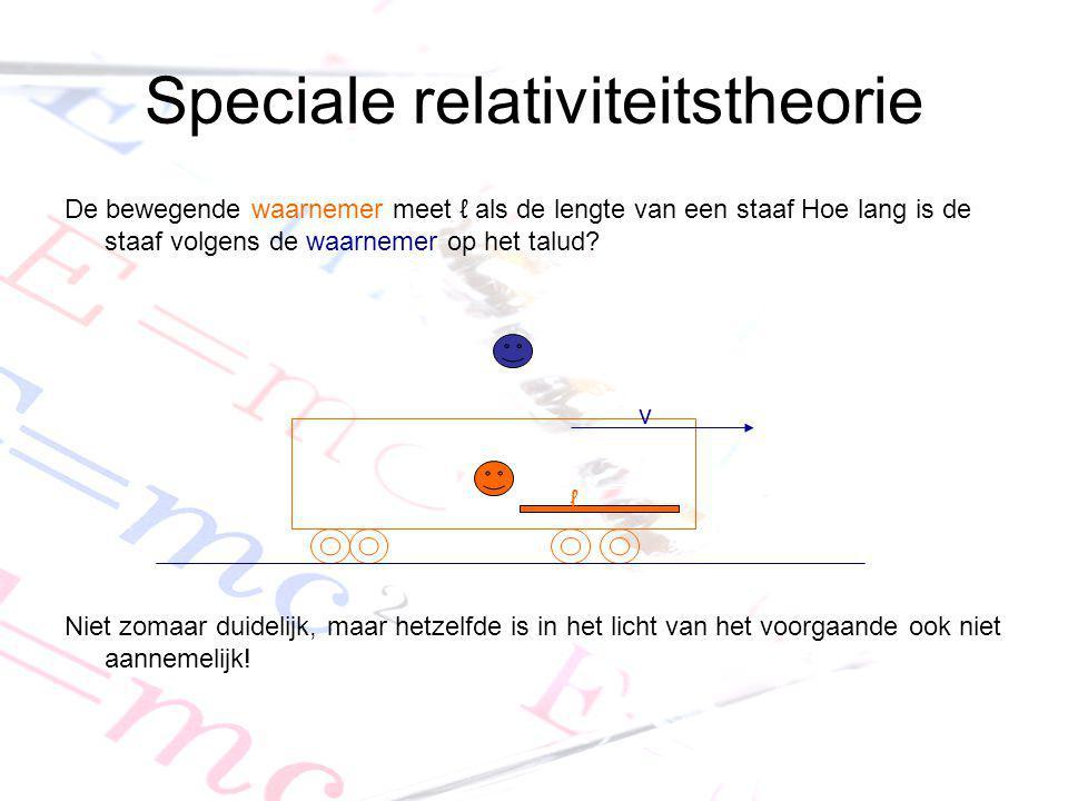 Speciale relativiteitstheorie De bewegende waarnemer meet ℓ als de lengte van een staaf Hoe lang is de staaf volgens de waarnemer op het talud? Niet z