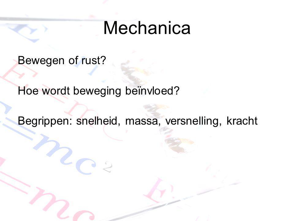 Mechanica Bewegen of rust? Hoe wordt beweging beïnvloed? Begrippen: snelheid, massa, versnelling, kracht