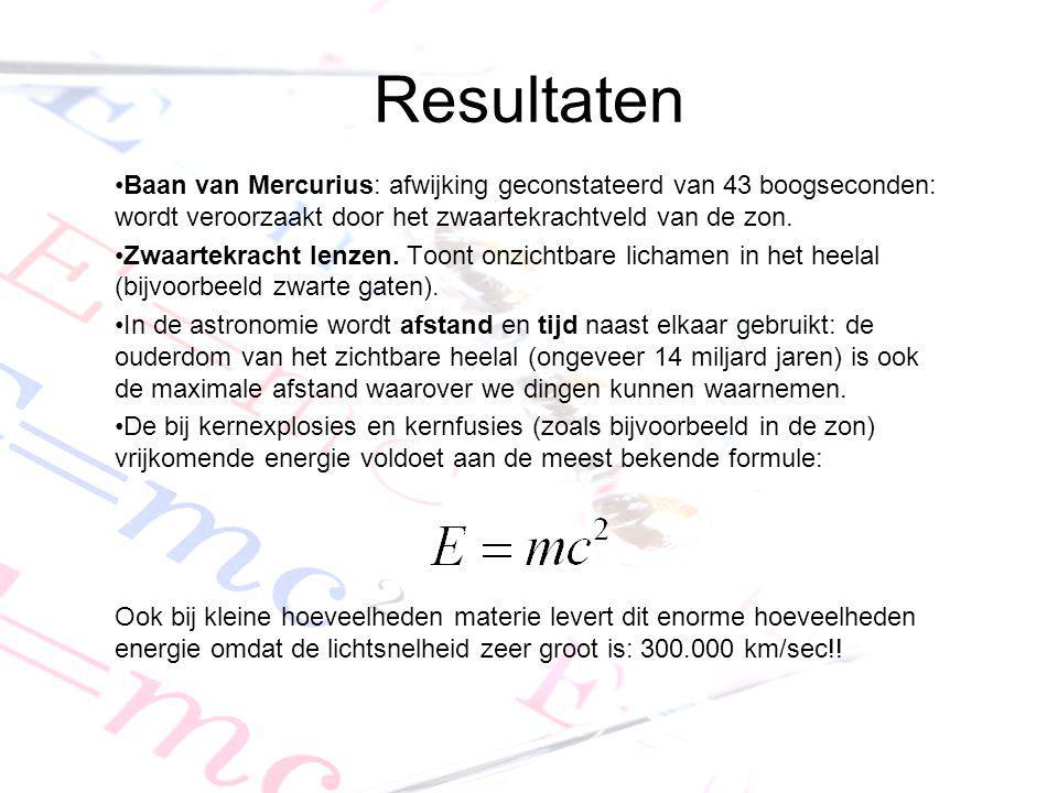 Resultaten Baan van Mercurius: afwijking geconstateerd van 43 boogseconden: wordt veroorzaakt door het zwaartekrachtveld van de zon. Zwaartekracht len