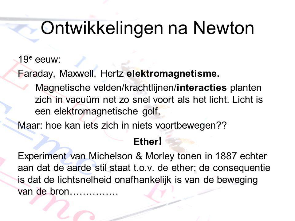 Ontwikkelingen na Newton 19 e eeuw: Faraday, Maxwell, Hertz elektromagnetisme. Magnetische velden/krachtlijnen/interacties planten zich in vacuüm net