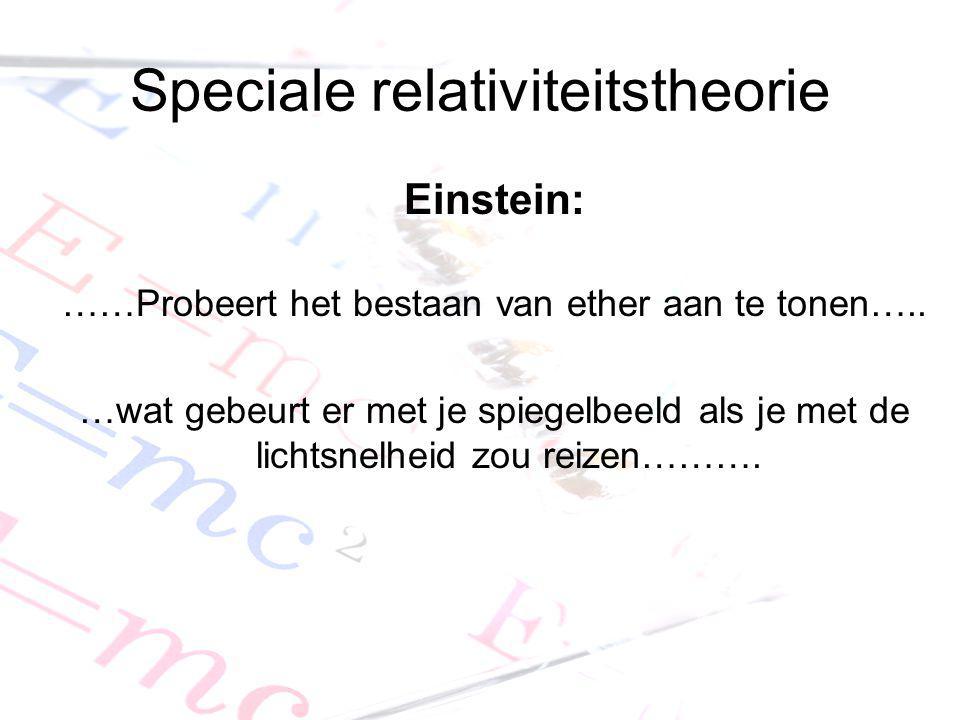 Speciale relativiteitstheorie Einstein: ……Probeert het bestaan van ether aan te tonen….. …wat gebeurt er met je spiegelbeeld als je met de lichtsnelhe