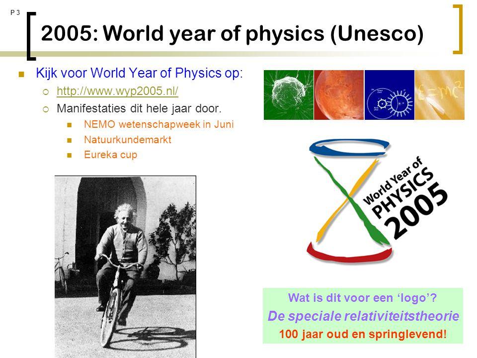 P 14 Merkwaardige tijd De 'tijd' speelt een grote rol in de relativiteitstheorie Hoe meten we eigenlijk de tijd.