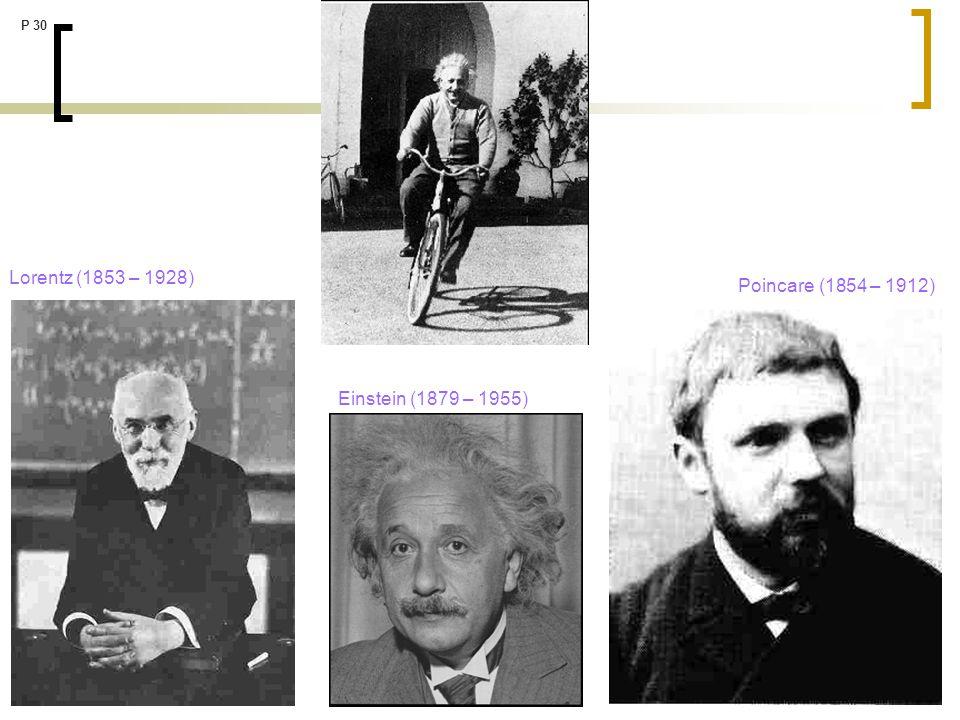 P 30 Lorentz (1853 – 1928) Poincare (1854 – 1912) Einstein (1879 – 1955)