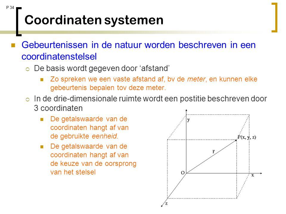 P 34 Coordinaten systemen Gebeurtenissen in de natuur worden beschreven in een coordinatenstelsel  De basis wordt gegeven door 'afstand' Zo spreken w