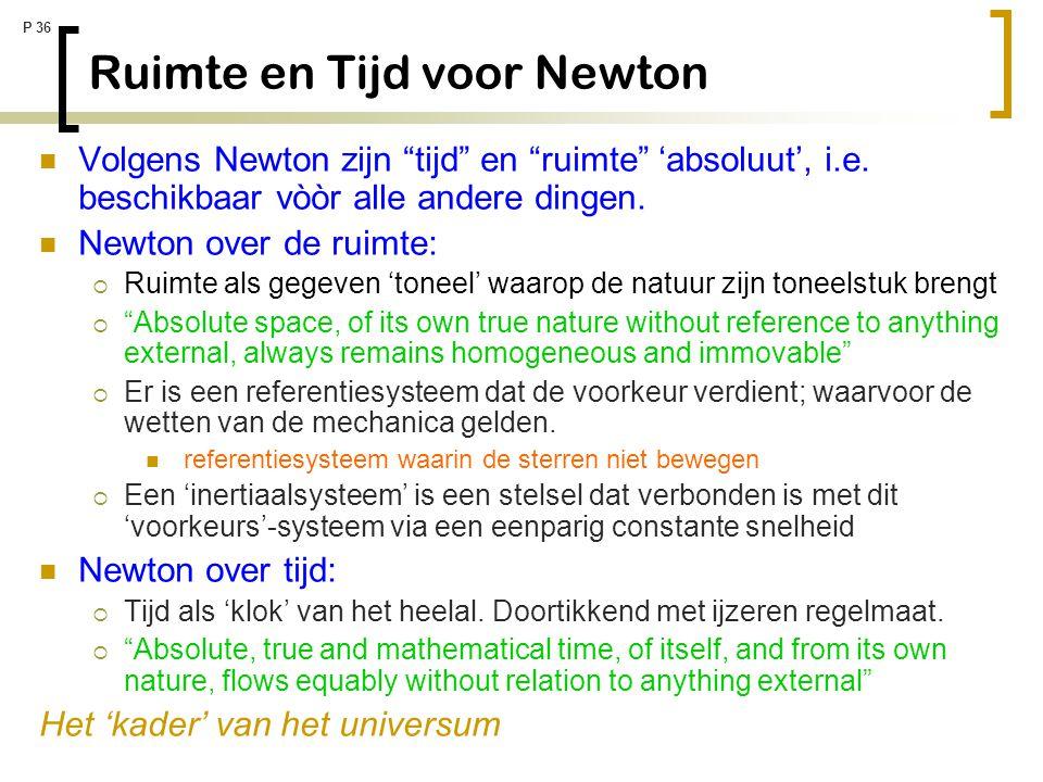 """P 36 Ruimte en Tijd voor Newton Volgens Newton zijn """"tijd"""" en """"ruimte"""" 'absoluut', i.e. beschikbaar vòòr alle andere dingen. Newton over de ruimte: """