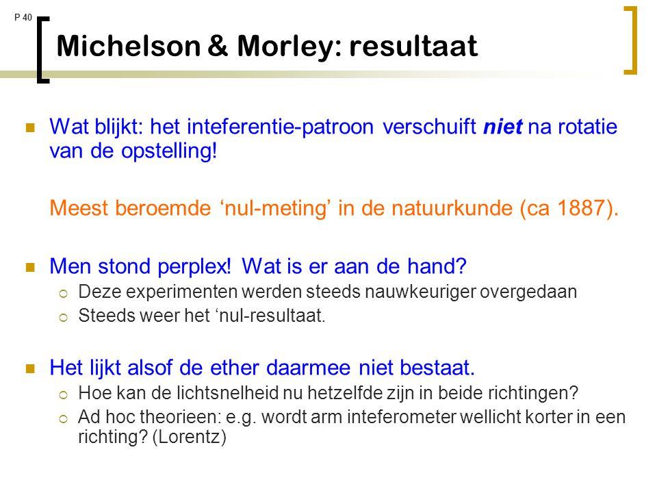P 40 Michelson & Morley: resultaat Wat blijkt: het inteferentie-patroon verschuift niet na rotatie van de opstelling! Meest beroemde 'nul-meting' in d