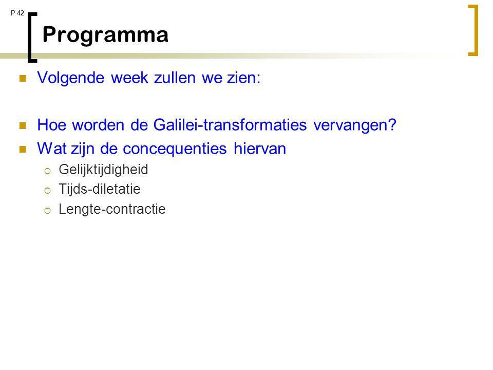 P 42 Programma Volgende week zullen we zien: Hoe worden de Galilei-transformaties vervangen? Wat zijn de concequenties hiervan  Gelijktijdigheid  Ti