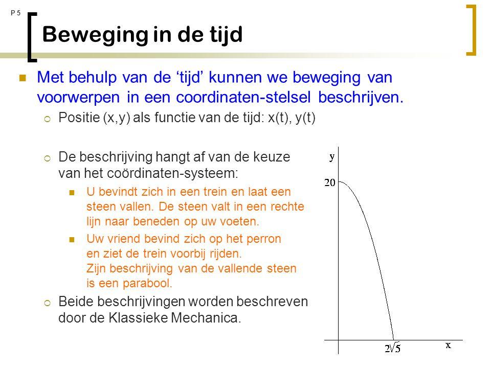 P 5 Beweging in de tijd Met behulp van de 'tijd' kunnen we beweging van voorwerpen in een coordinaten-stelsel beschrijven.  Positie (x,y) als functie