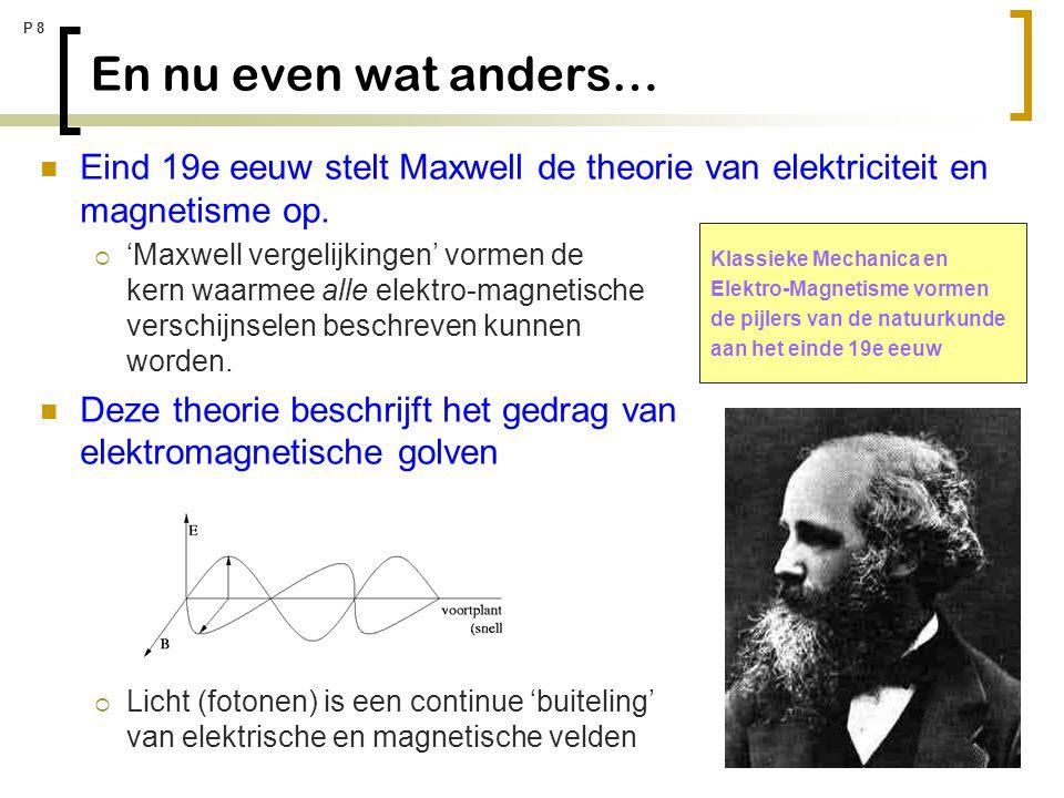 P 8 En nu even wat anders… Eind 19e eeuw stelt Maxwell de theorie van elektriciteit en magnetisme op.  'Maxwell vergelijkingen' vormen de kern waarme