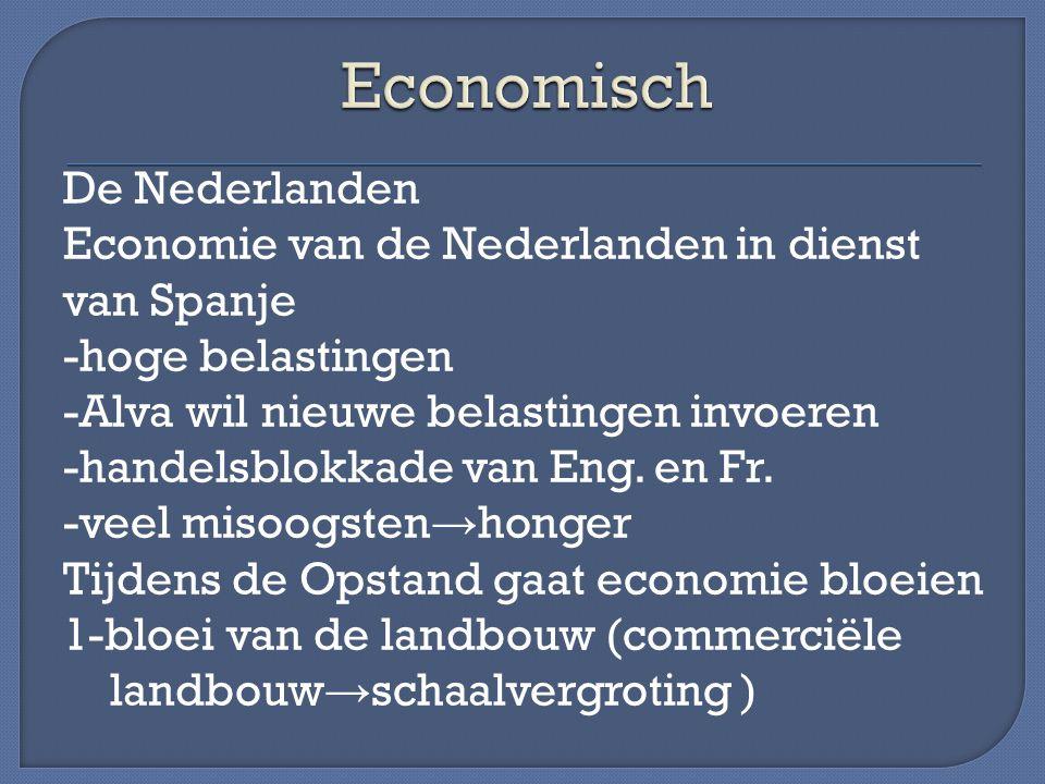 De Nederlanden Economie van de Nederlanden in dienst van Spanje -hoge belastingen -Alva wil nieuwe belastingen invoeren -handelsblokkade van Eng. en F