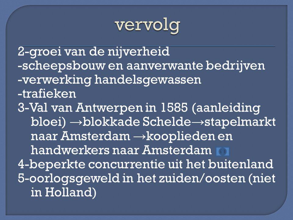 2-groei van de nijverheid -scheepsbouw en aanverwante bedrijven -verwerking handelsgewassen -trafieken 3-Val van Antwerpen in 1585 (aanleiding bloei)