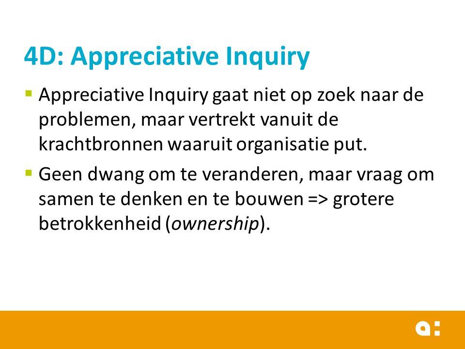  Appreciative Inquiry gaat niet op zoek naar de problemen, maar vertrekt vanuit de krachtbronnen waaruit organisatie put.  Geen dwang om te verander