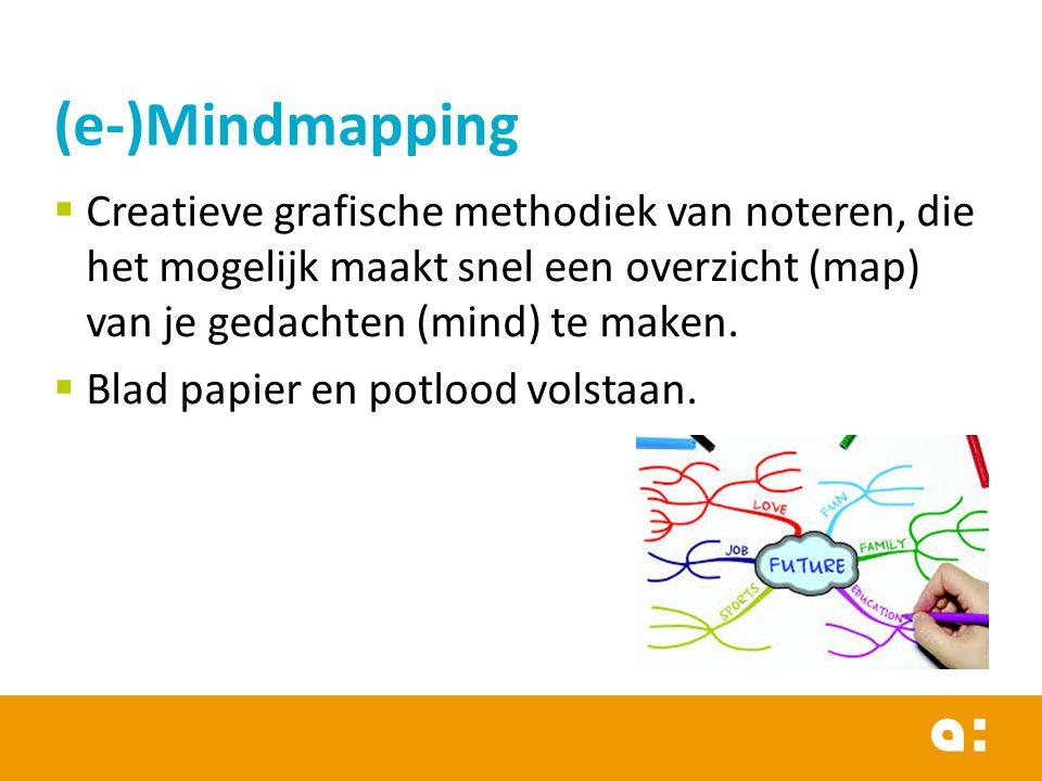  Creatieve grafische methodiek van noteren, die het mogelijk maakt snel een overzicht (map) van je gedachten (mind) te maken.  Blad papier en potloo