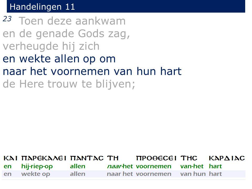 23 Toen deze aankwam en de genade Gods zag, verheugde hij zich en wekte allen op om naar het voornemen van hun hart de Here trouw te blijven; Handelingen 11
