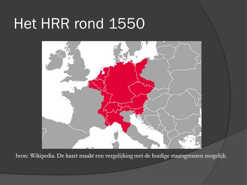 Het HRR rond 1550 bron: Wikipedia. De kaart maakt een vergelijking met de huidige staatsgrenzen mogelijk.