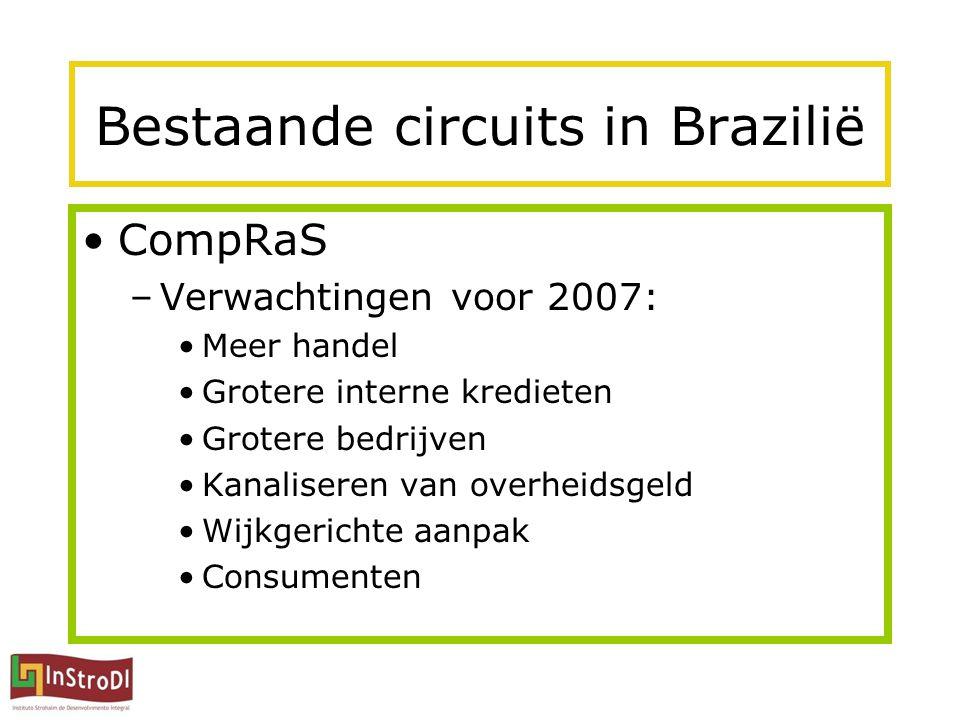 Bestaande circuits in Brazilië CompRaS –Verwachtingen voor 2007: Meer handel Grotere interne kredieten Grotere bedrijven Kanaliseren van overheidsgeld Wijkgerichte aanpak Consumenten