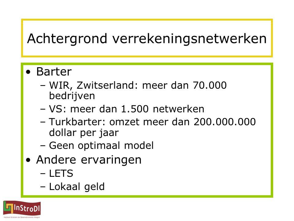 Achtergrond verrekeningsnetwerken Barter –WIR, Zwitserland: meer dan 70.000 bedrijven –VS: meer dan 1.500 netwerken –Turkbarter: omzet meer dan 200.000.000 dollar per jaar –Geen optimaal model Andere ervaringen –LETS –Lokaal geld