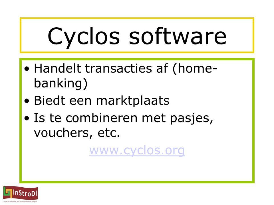 Cyclos software Handelt transacties af (home- banking) Biedt een marktplaats Is te combineren met pasjes, vouchers, etc.