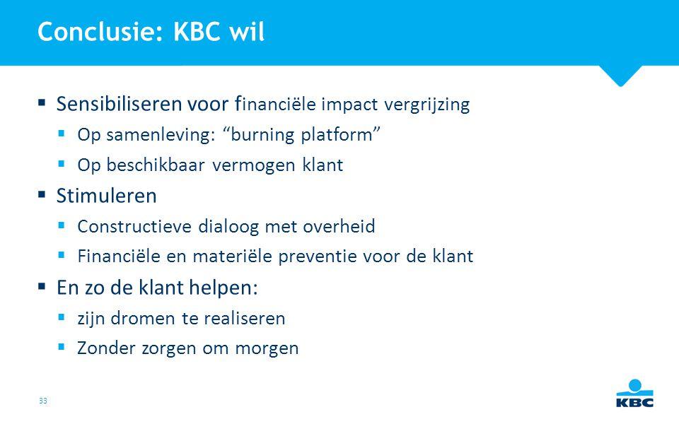"""33 Conclusie: KBC wil  Sensibiliseren voor f inanciële impact vergrijzing  Op samenleving: """"burning platform""""  Op beschikbaar vermogen klant  Stim"""