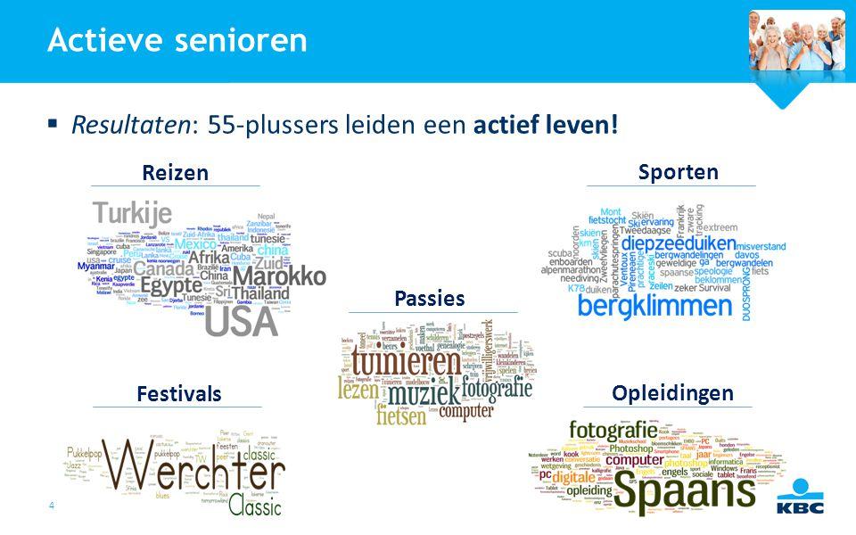 4 Actieve senioren  Resultaten: 55-plussers leiden een actief leven! Reizen Sporten Festivals Opleidingen Passies
