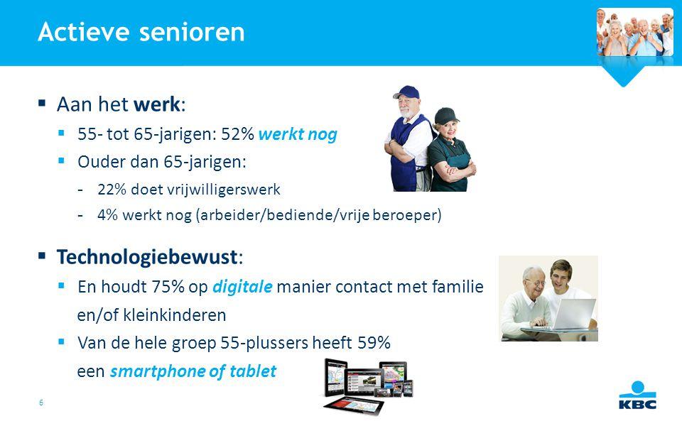 6 Actieve senioren  Aan het werk:  55- tot 65-jarigen: 52% werkt nog  Ouder dan 65-jarigen: -22% doet vrijwilligerswerk -4% werkt nog (arbeider/bed