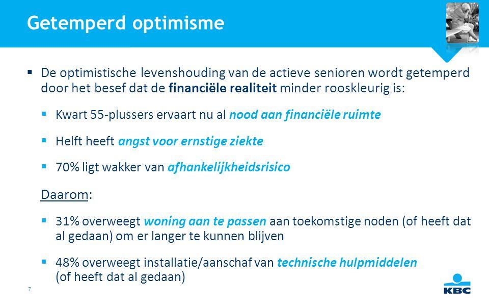 7 Getemperd optimisme  De optimistische levenshouding van de actieve senioren wordt getemperd door het besef dat de financiële realiteit minder roosk