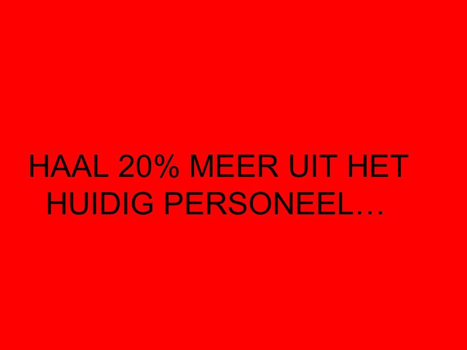 HAAL 20% MEER UIT HET HUIDIG PERSONEEL…