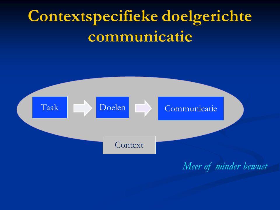 Contextspecifieke doelgerichte communicatie TaakDoelen Communicatie Context Meer of minder bewust
