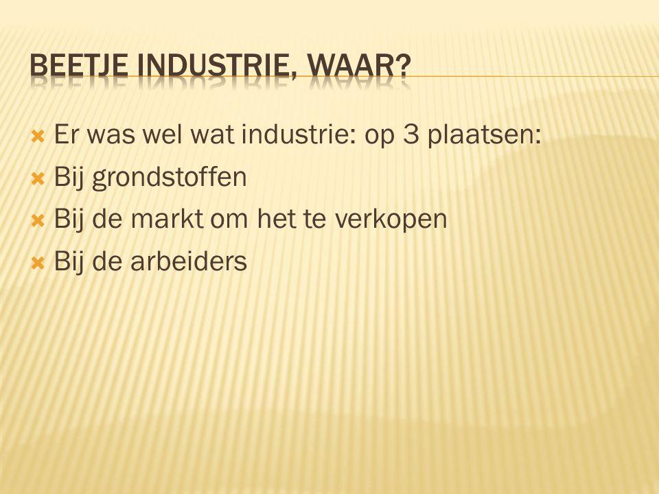  Er was wel wat industrie: op 3 plaatsen:  Bij grondstoffen  Bij de markt om het te verkopen  Bij de arbeiders