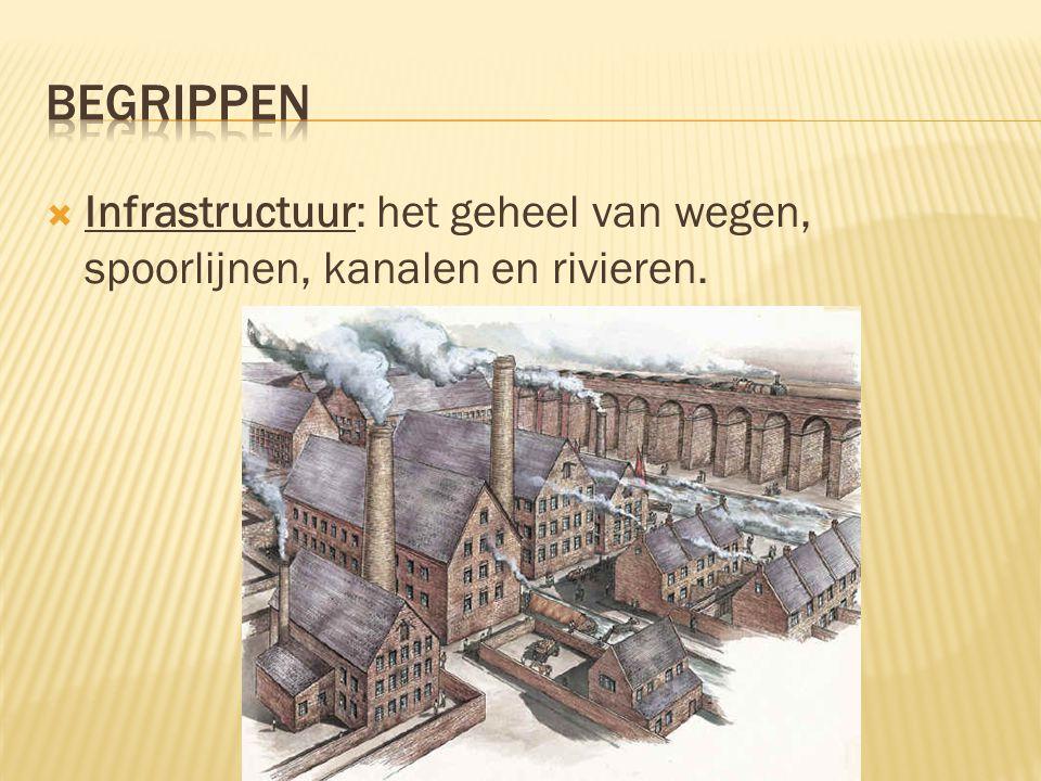  Infrastructuur: het geheel van wegen, spoorlijnen, kanalen en rivieren.