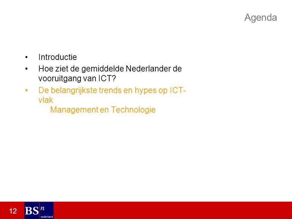 12 Agenda Introductie Hoe ziet de gemiddelde Nederlander de vooruitgang van ICT.