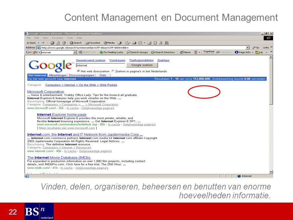22 Content Management en Document Management Vinden, delen, organiseren, beheersen en benutten van enorme hoeveelheden informatie.
