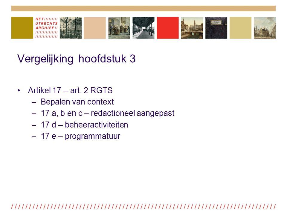 Vergelijking hoofdstuk 3 Artikel 17 – art. 2 RGTS –Bepalen van context –17 a, b en c – redactioneel aangepast –17 d – beheeractiviteiten –17 e – progr
