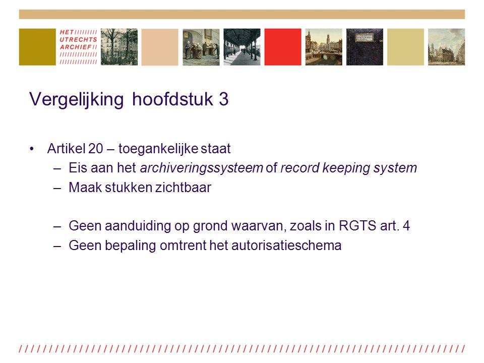 Vergelijking hoofdstuk 3 Artikel 20 – toegankelijke staat –Eis aan het archiveringssysteem of record keeping system –Maak stukken zichtbaar –Geen aand