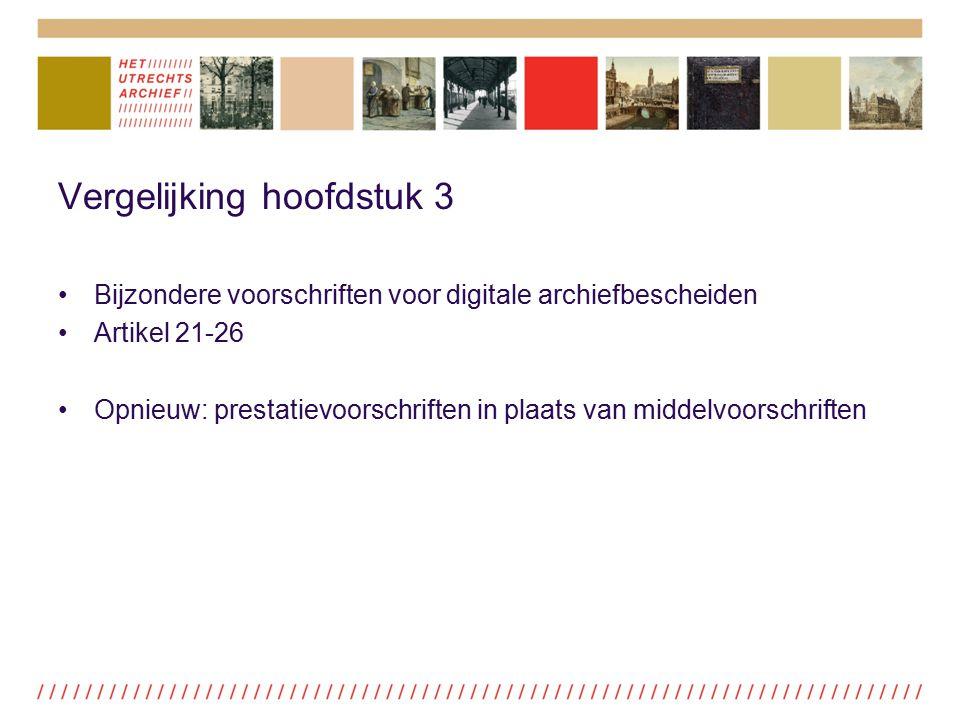 Vergelijking hoofdstuk 3 Bijzondere voorschriften voor digitale archiefbescheiden Artikel 21-26 Opnieuw: prestatievoorschriften in plaats van middelvo