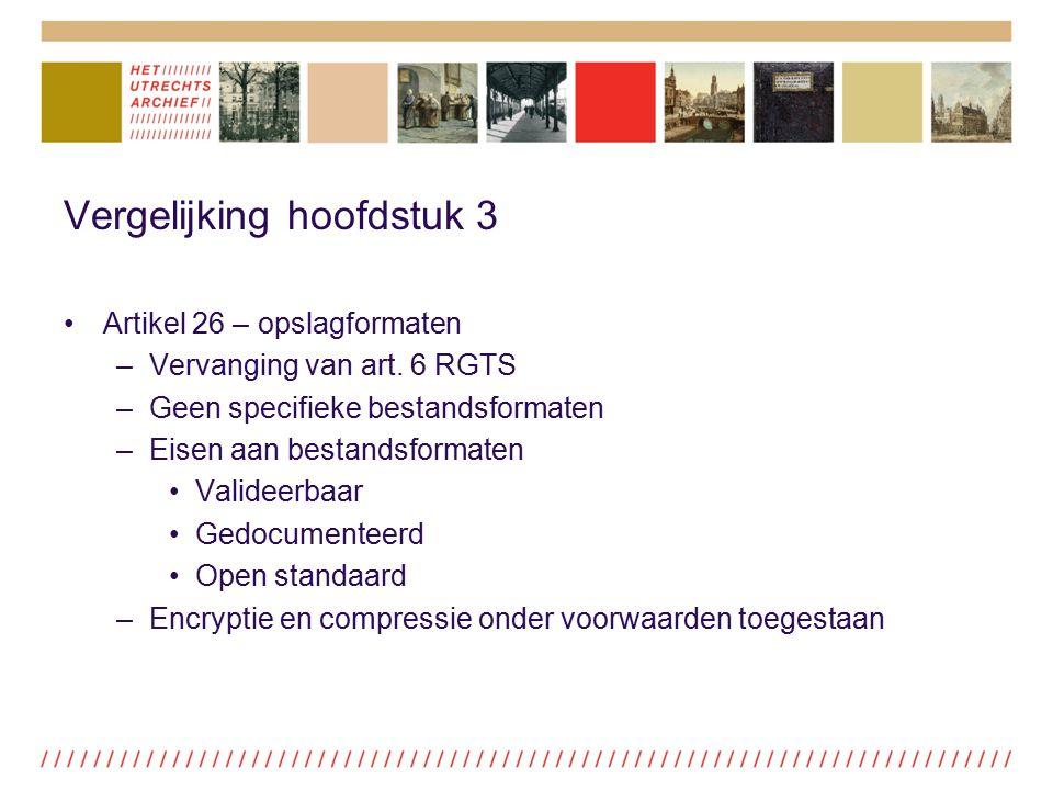 Vergelijking hoofdstuk 3 Artikel 26 – opslagformaten –Vervanging van art. 6 RGTS –Geen specifieke bestandsformaten –Eisen aan bestandsformaten Validee