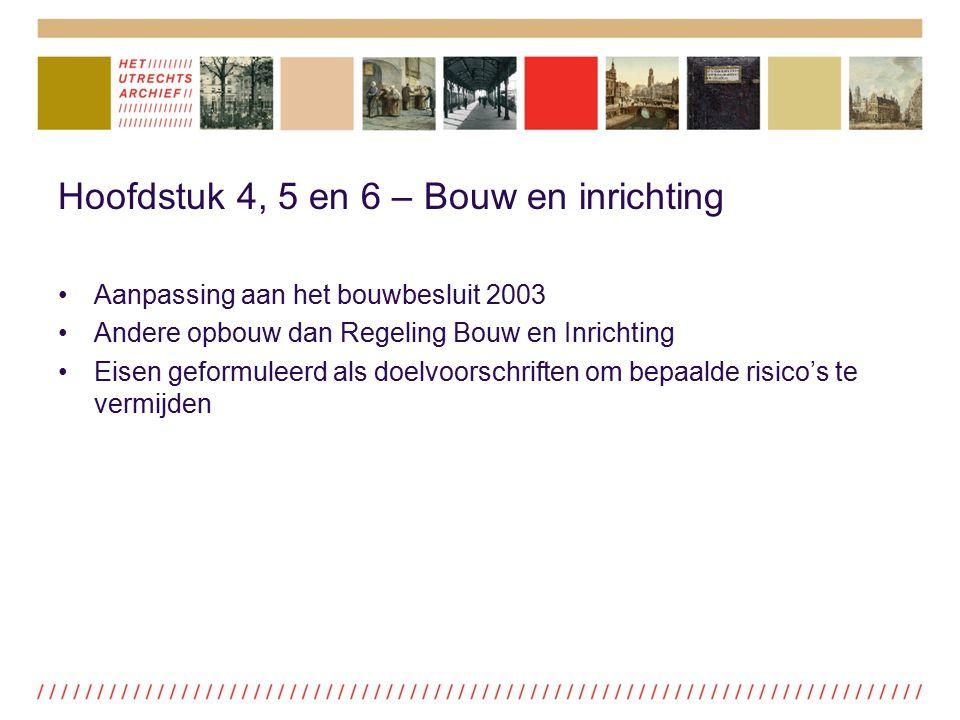 Hoofdstuk 4, 5 en 6 – Bouw en inrichting Aanpassing aan het bouwbesluit 2003 Andere opbouw dan Regeling Bouw en Inrichting Eisen geformuleerd als doel