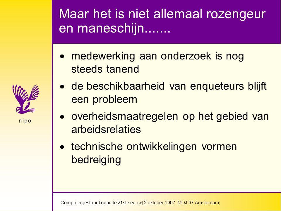 Computergestuurd naar de 21ste eeuw| 2 oktober 1997 |MOJ'97 Amsterdam| n i p on i p o Maar het is niet allemaal rozengeur en maneschijn.......