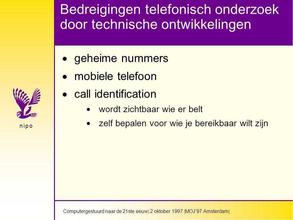 Computergestuurd naar de 21ste eeuw| 2 oktober 1997 |MOJ'97 Amsterdam| n i p on i p o Bedreigingen telefonisch onderzoek door technische ontwikkelingen  geheime nummers  mobiele telefoon  call identification  wordt zichtbaar wie er belt  zelf bepalen voor wie je bereikbaar wilt zijn