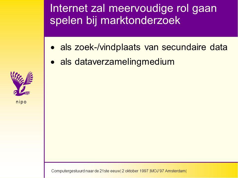Computergestuurd naar de 21ste eeuw| 2 oktober 1997 |MOJ'97 Amsterdam| n i p on i p o Internet zal meervoudige rol gaan spelen bij marktonderzoek  als zoek-/vindplaats van secundaire data  als dataverzamelingmedium