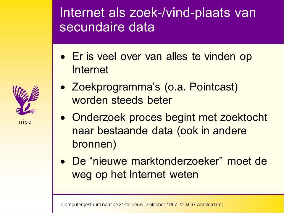Computergestuurd naar de 21ste eeuw| 2 oktober 1997 |MOJ'97 Amsterdam| n i p on i p o Internet als zoek-/vind-plaats van secundaire data  Er is veel over van alles te vinden op Internet  Zoekprogramma's (o.a.
