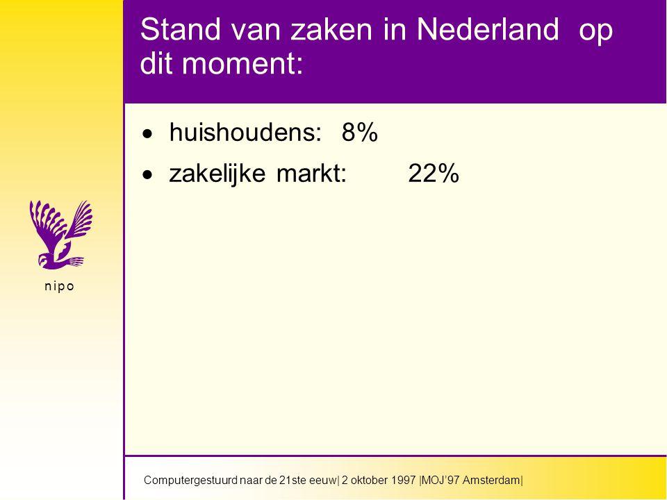 Computergestuurd naar de 21ste eeuw| 2 oktober 1997 |MOJ'97 Amsterdam| n i p on i p o Stand van zaken in Nederland op dit moment:  huishoudens:8%  zakelijke markt:22%